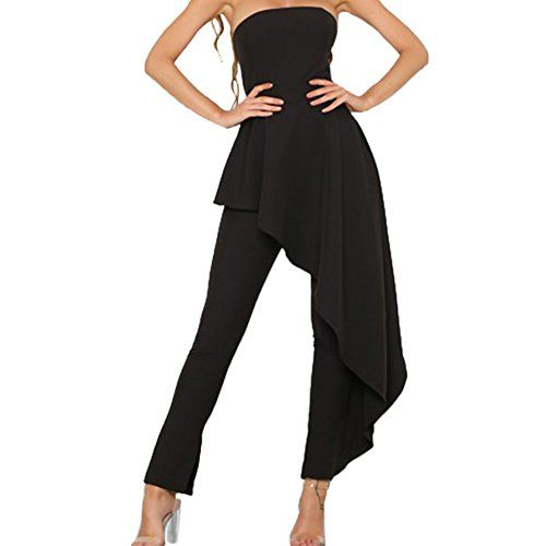 52845cbe0c3c Lidibeth Women s Ruffle Strapless Club Party Long Pants Jumpsuit Dress  Rompers Overall