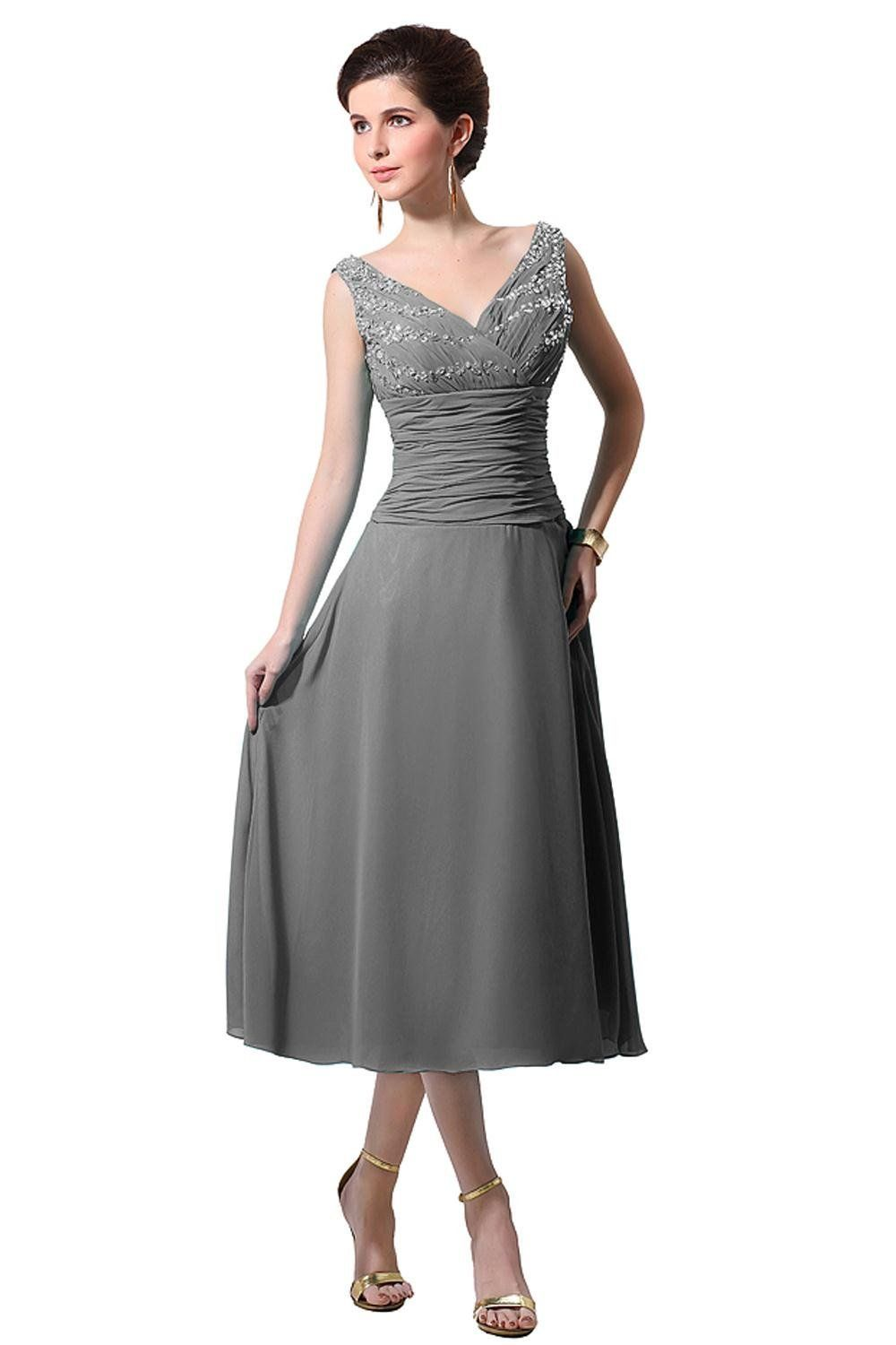 5f5d58ca507 Bess Bridal Women´s V Neck Chiffon Tea Length Mother of the Bride Dress   Amazon Fashion