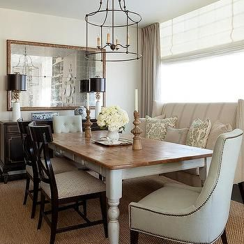 Farmhouse Dining Table With Wingback Settee Transitional