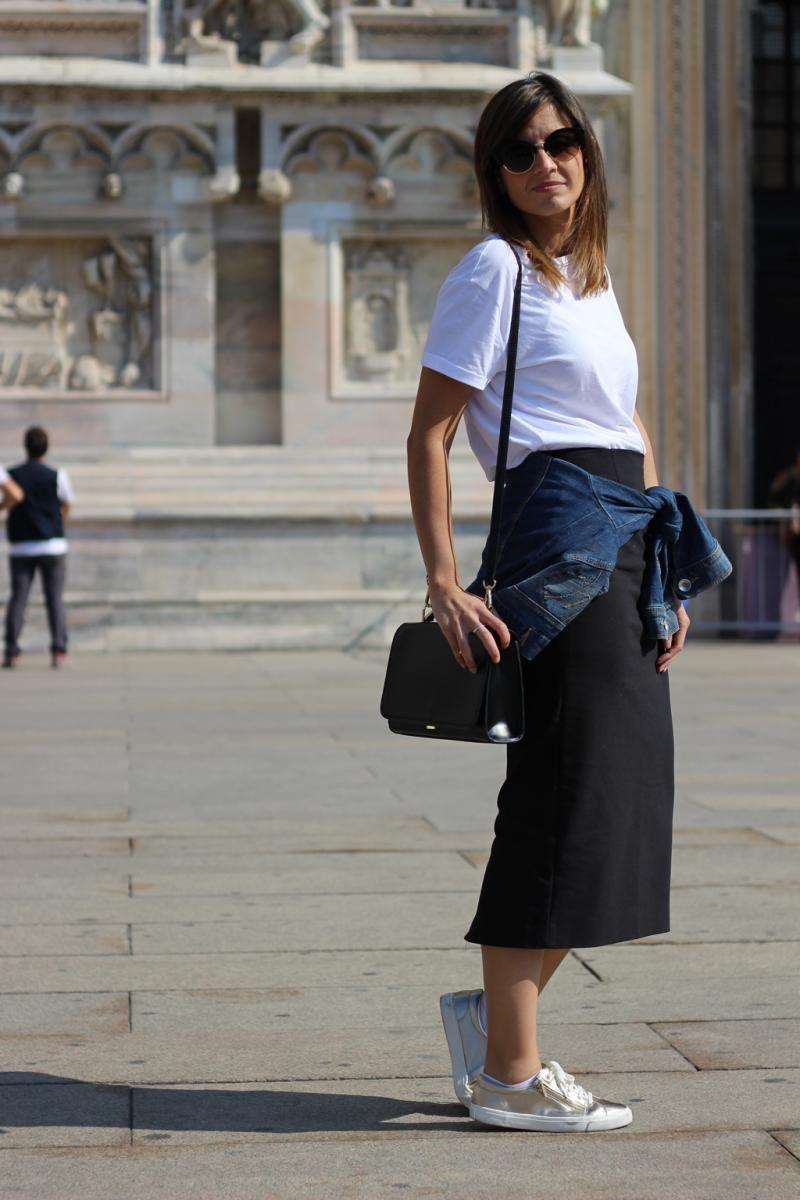 23e709235 Falda negra larga y zapatillas   Cosas que ponerse   Pinterest