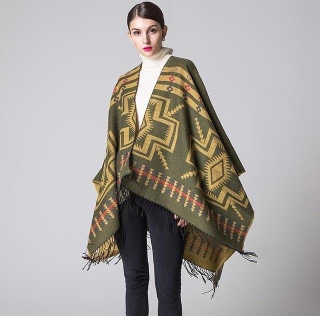 Ladies Hooded Cape with Fringed Hem, Crochet Poncho Shawl Wrap Scarf ...