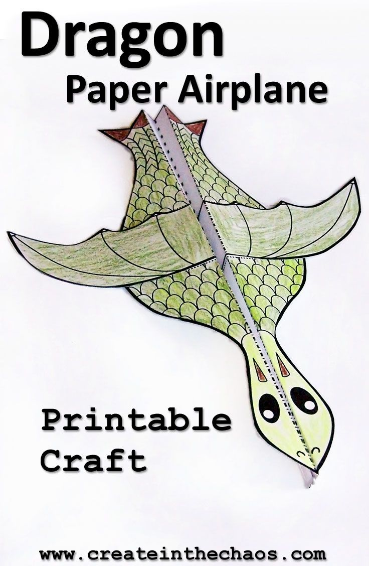 Printable Dragon Paper Airplane Craft Createinthechaos
