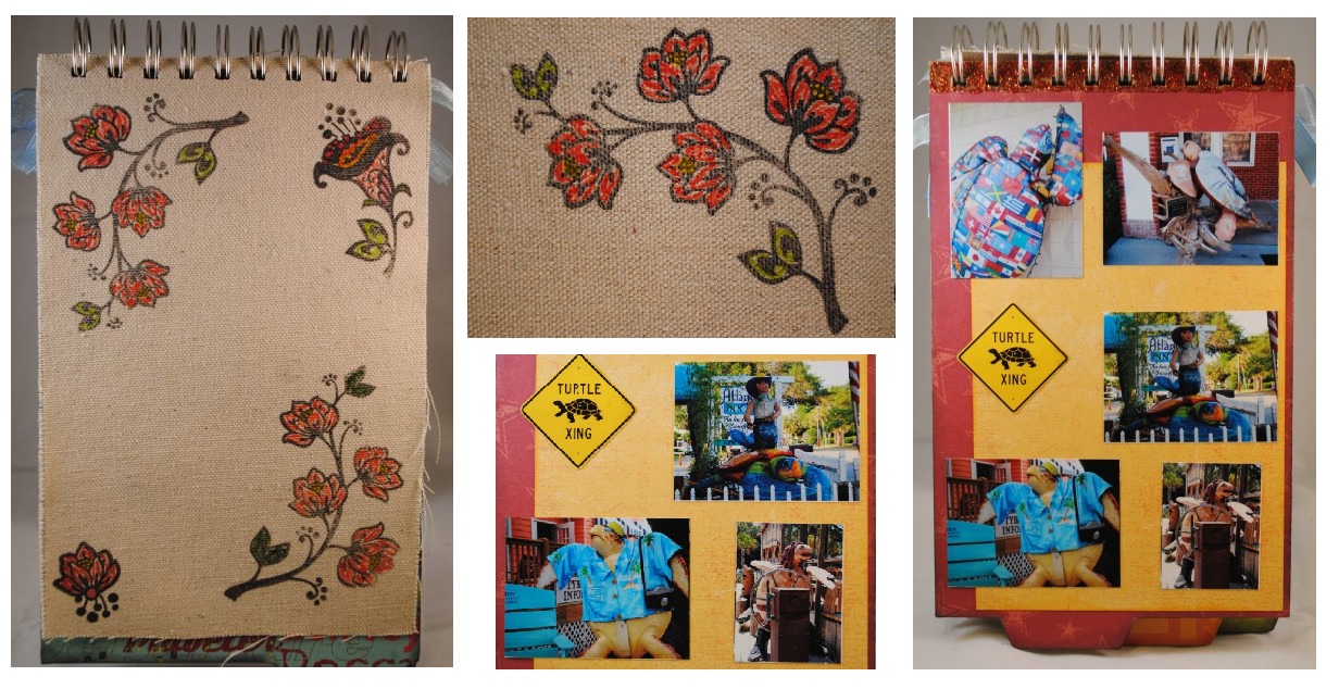 Canvas album page + imaged stamped with Staz-On ink and colored with Zig Fabricolor markers = printed fabric effect