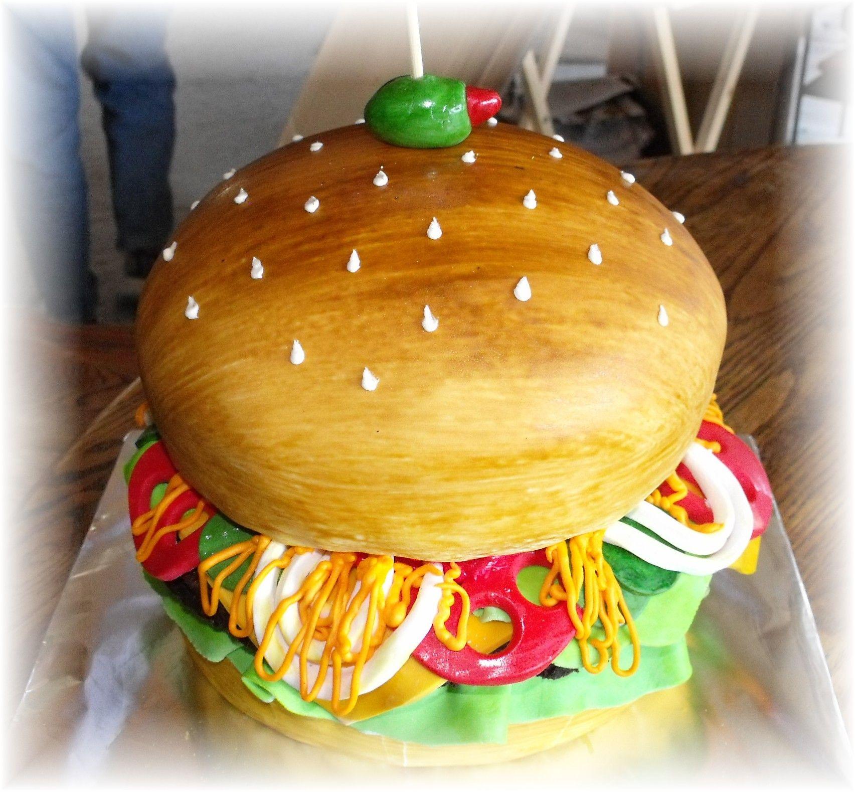 Hamburger cake with fondant garnishments. Creative Cakes by Patty ...