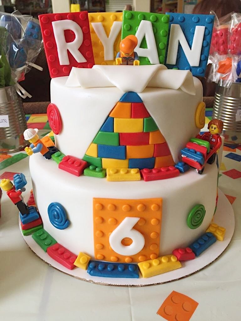 Lego Brick Theme Birthday Cake All Decorations Made Using Fondant