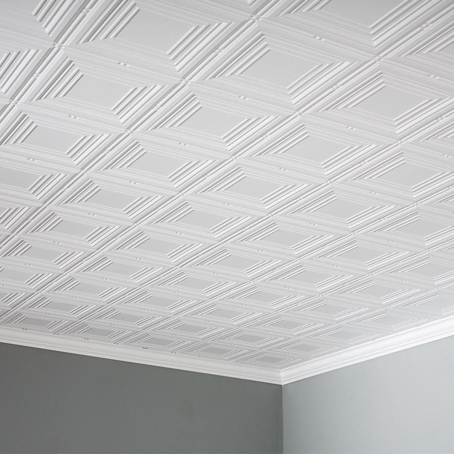 Fasade Ceiling Tile 2x4 Direct Apply Portrait In Matte White Ceiling Tile Ceiling Tiles Popcorn Ceiling Makeover