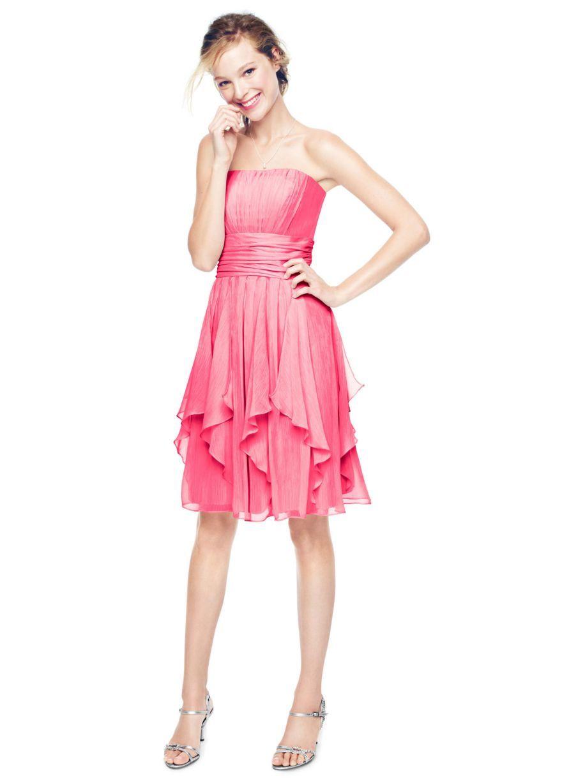 Strapless Chiffon Dress with Layered Skirt - David\'s Bridal ...