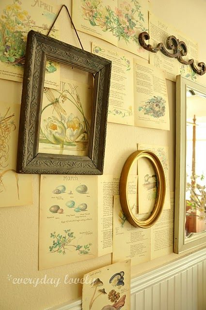 interesting putting pages on the wall and hanging frames over ...