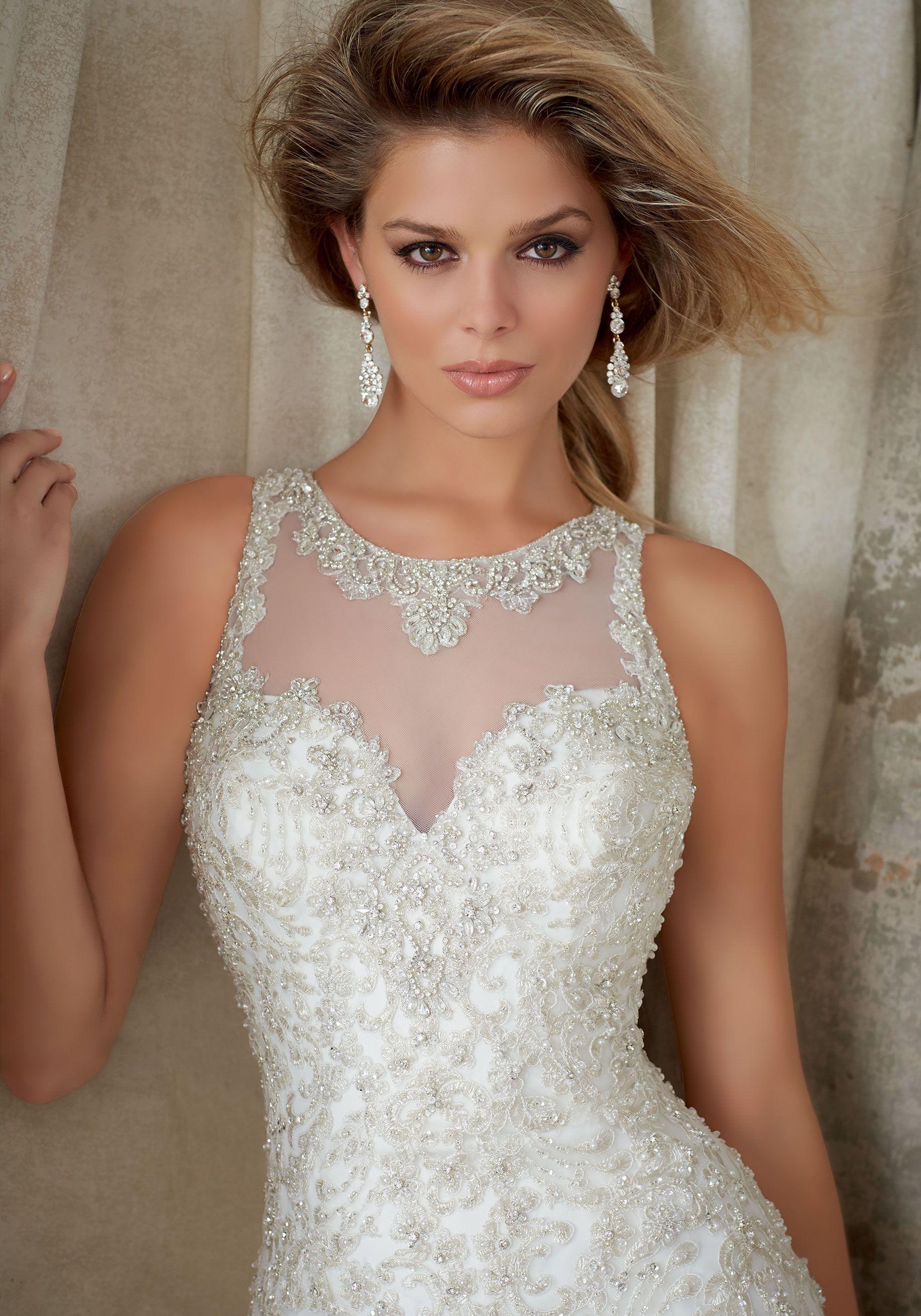 High Halter Illusion neckline Bridal Dress is Intricately ...