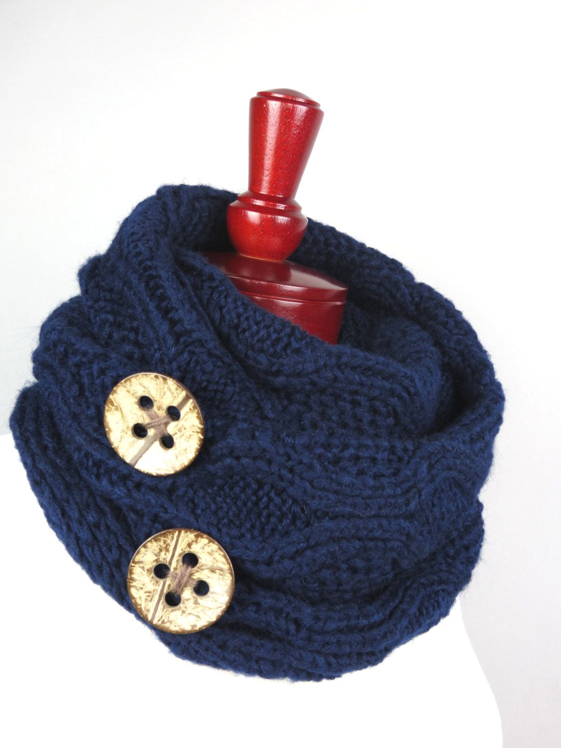 Navy Blue Knitted Chunky Infinity Scarf Coconut Buttons Woman Scarf Fashion Accessory Cozy Loop Scarf