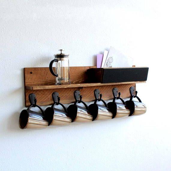 coffee mug rack wall mounted coffee cup display coffee cup holder rh pinterest com