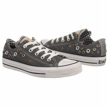 Athletics Converse Womens AllStar Eyelet Cuff Ox Dark Grey Shoes.com