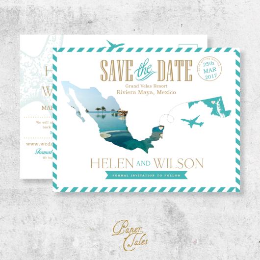 Digital Wedding Invitation Ideas: Mexico, Destination Wedding, Post Card Save The Dates