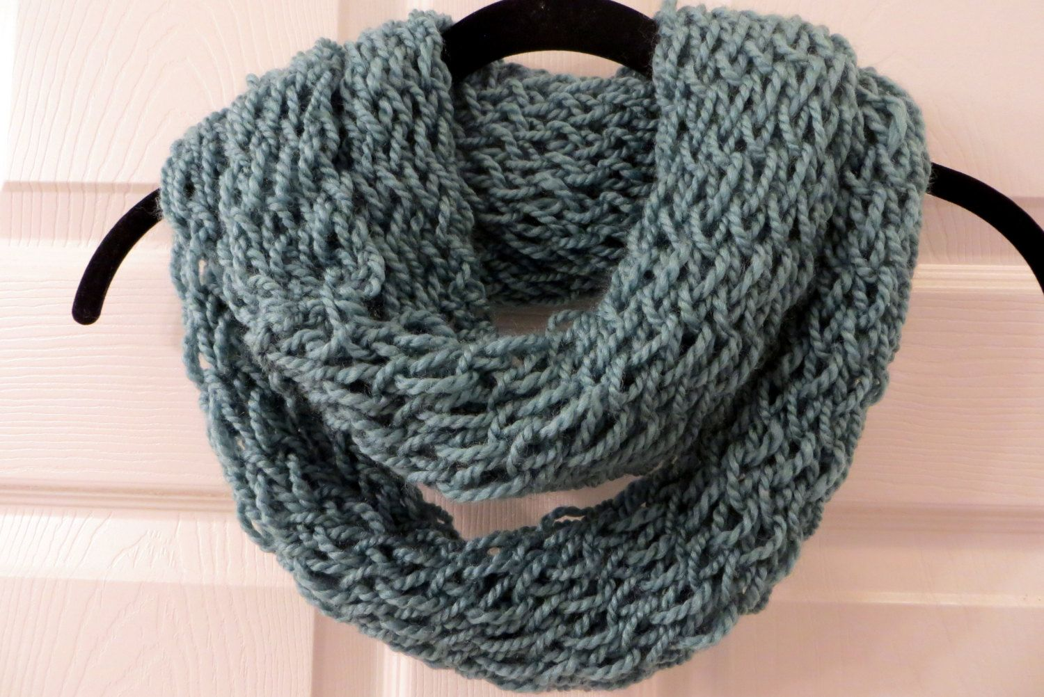 Handmade Teal Finger Knit Infinity Scarf by MistyMountainYarns on Etsy