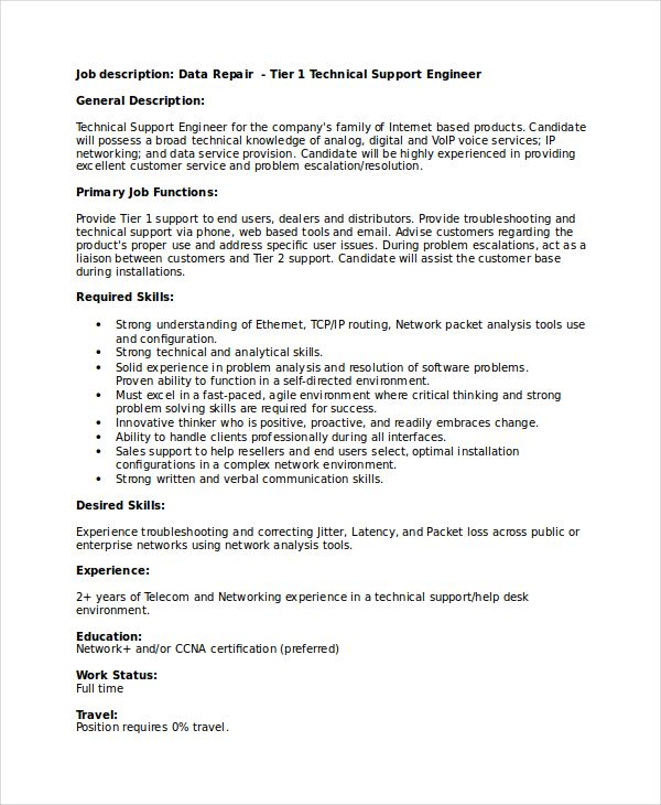 Technical Support Engineer Resume  Using The Technical Resume
