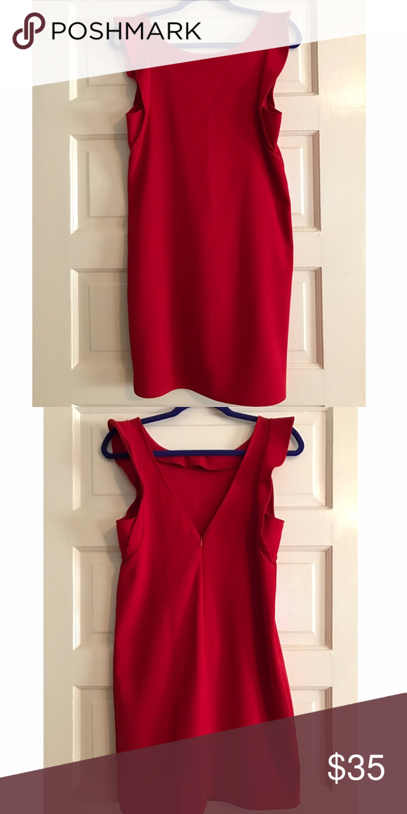 EVERLY Dress Beautiful red EVERLY dress with a deep V back. Pretty ruffles on the arms so it's very flattering. Perfect for the holidays!! Everly Dresses Mini