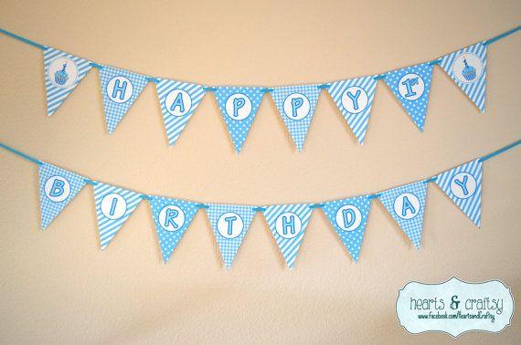 boy first birthday banner boy 1st birthday blue cupcake first