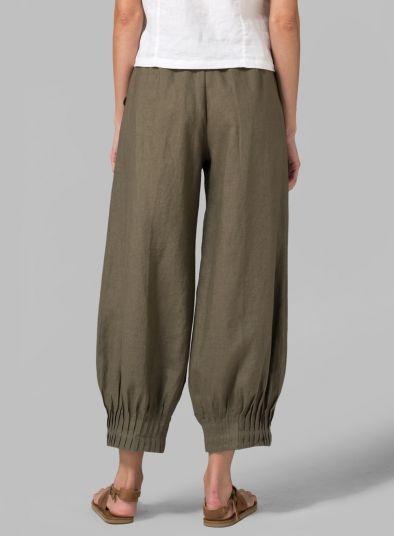 PLUS Clothing - Linen Regular Fit Crop Pants