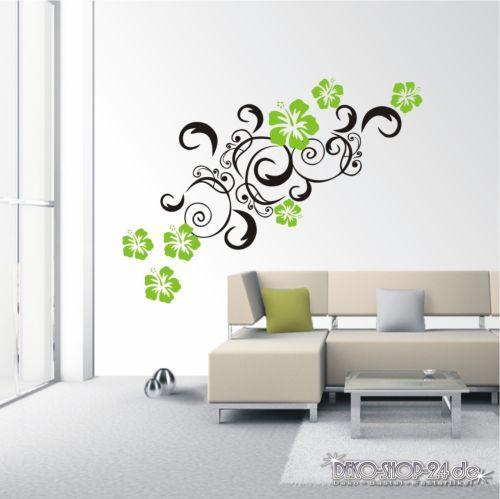 details zu wandtattoo hibiskus ranke 2 farbig blumenranke ornament wohnzimmer motiv 303 xl. Black Bedroom Furniture Sets. Home Design Ideas