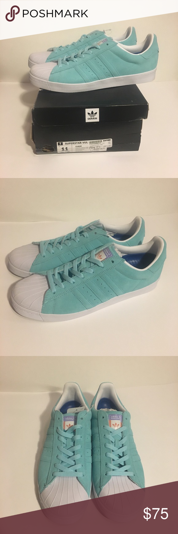 6bfe344bf08d Adidas Superstar Vulc ADV Pastel Blue Shoes New with box Superstar Vulc ADV  Pastel Blue Shoes