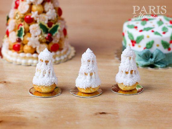 Sapin De Noel Miniature Christmas Tree Religieuse Pastry (White, Snow Covered), Sapin de