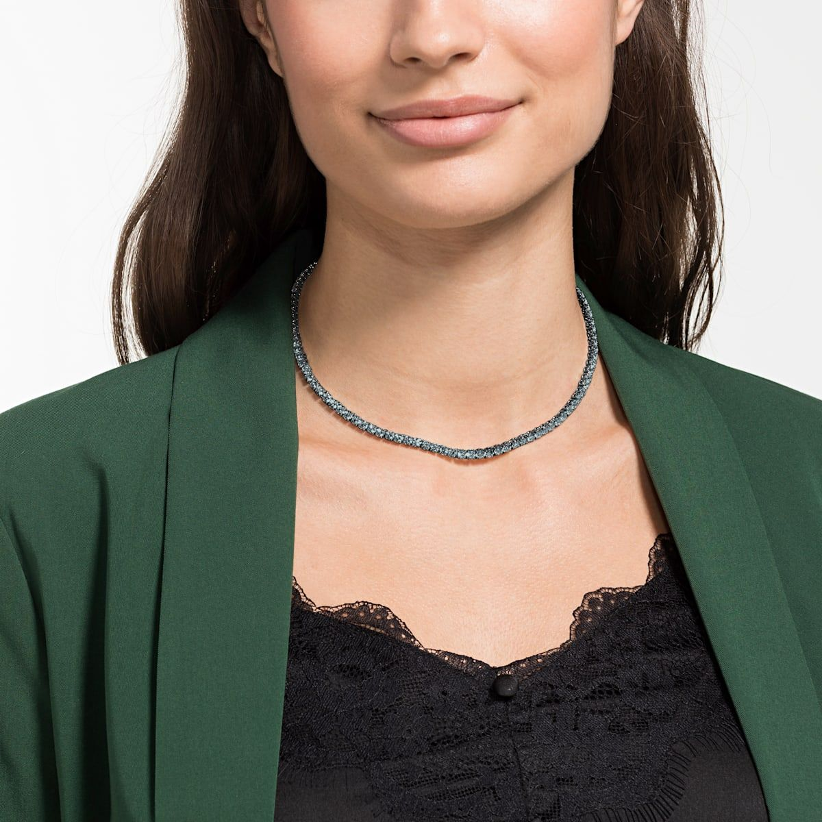 Tennis Deluxe Necklace Black Ruthenium Plated By Swarovski New Necklace Designs Necklace Crystal Necklace
