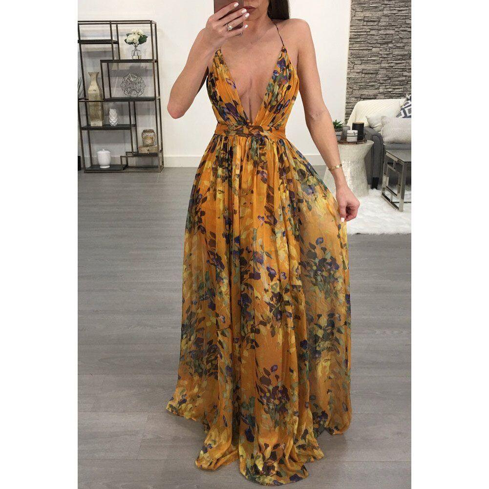 30545472df Bohemian Sexy Deep V Collar Backless Maxi Beach Vacation Dress – PINKSIA