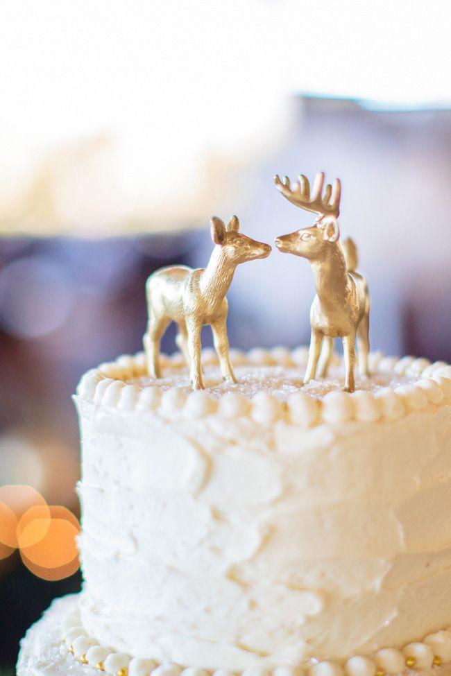Gold reindeer cake topper   Palm Springs Desert Christmas Wedding ...