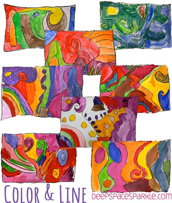 Easy Color Line Art Lesson Fun Art Line Art Lesson Color Art
