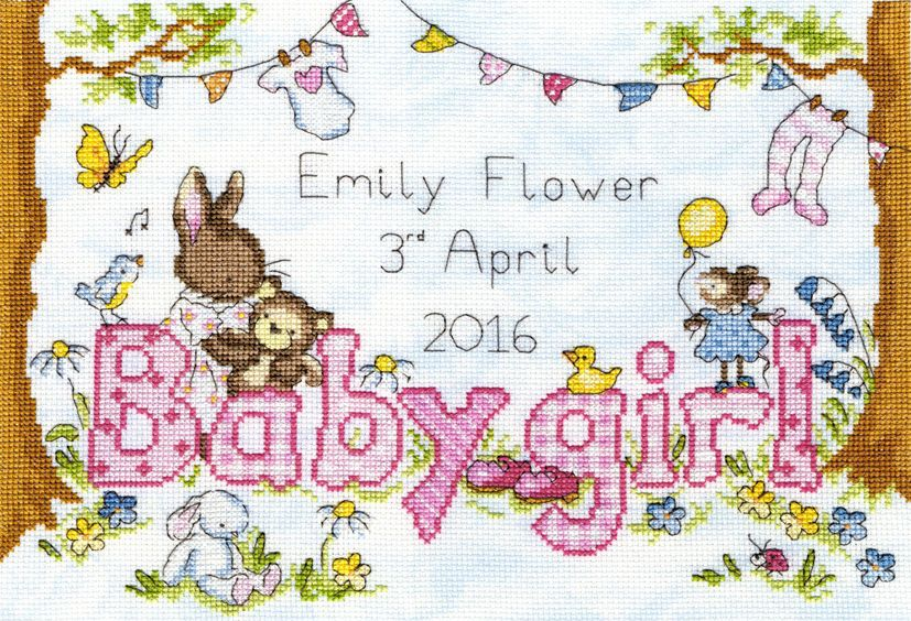 Bunny Love Baby Girl Newborn Arrival Counted Cross Stitch Kit