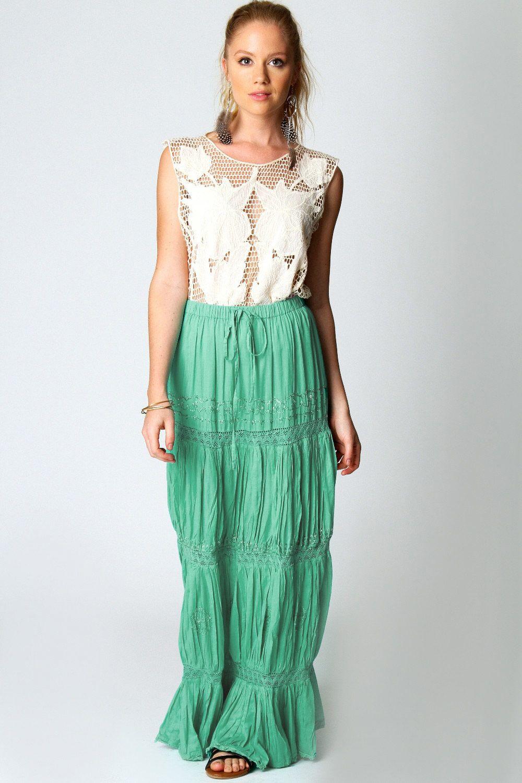 Boohoo Hannah Embellished and Crochet Maxi Skirt - 3 Colours   eBay