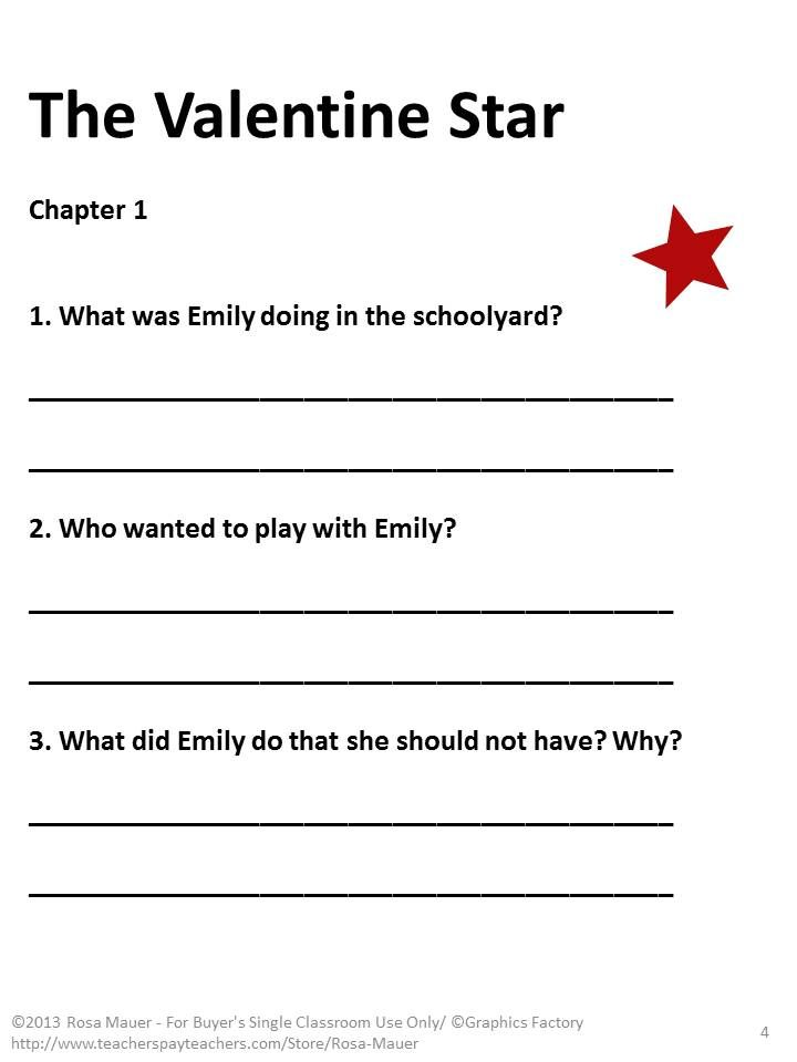 """The Valentine Star: Chapter-by-chapter comprehension questions are given for """"The Valentine Star"""" by Patricia Reilly Giff. Questions are from various levels of Bloom's Taxonomy and incorporate several concepts to assist students in the mastery of core curriculum skills. Space is provided for students to write in their responses. Answers are included in a copy for teachers."""