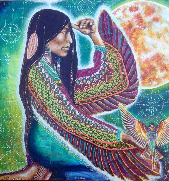 Fire Bird Native American Full Moon Goddess Cosmic Star pattern Red Feather art by Isabel Bryna