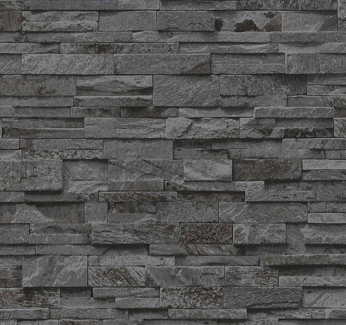 02363 40 Tapete Mit Steinmauer Abbildung In Schwarz Von P S International Markentapeten Gunstig Und Schnell Online Kau Steintapete Tapete Steinoptik Tapeten