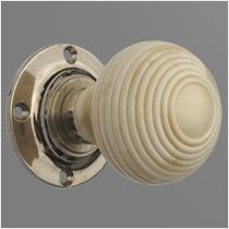 Porcelain Bone Beehive Turning Door Knob with Nickel Base | hardware ...