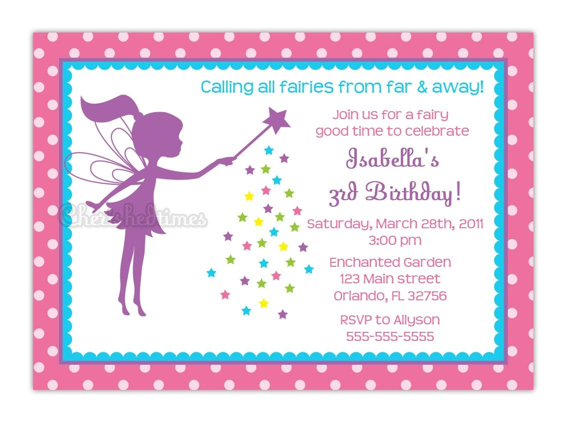 Free Fairy Party Invitations – Fairy Tea Party Invitations