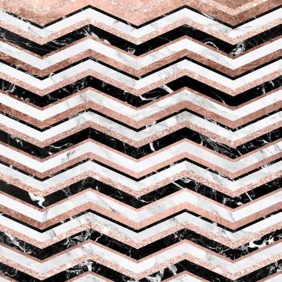 Modern Trendy Faux Rose Gold Black White Marble Chevron Art Print By Girly Trend Society6 Black And White Marble Gold And Black Wallpaper Chevron Art Print Rose gold white black wallpaper