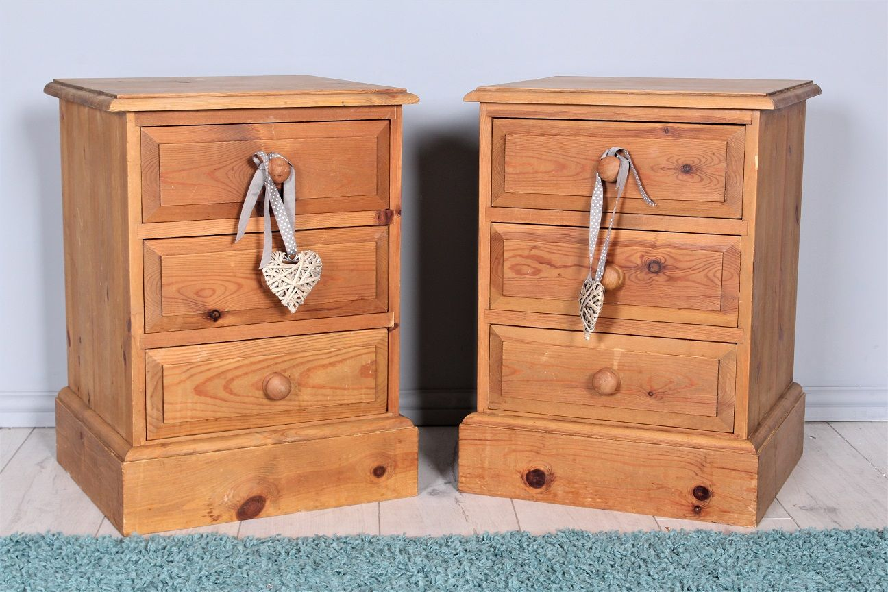 99 Matching Pair Of Rustic Pine Bedside Tables With Lots Age Marks Solid And Well Made Ideal For Painting More Furniture Is Available