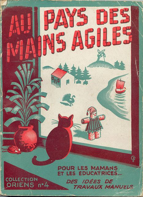 OLD FRENCH BOOK COVER WITH CAT & SHOW MAN.