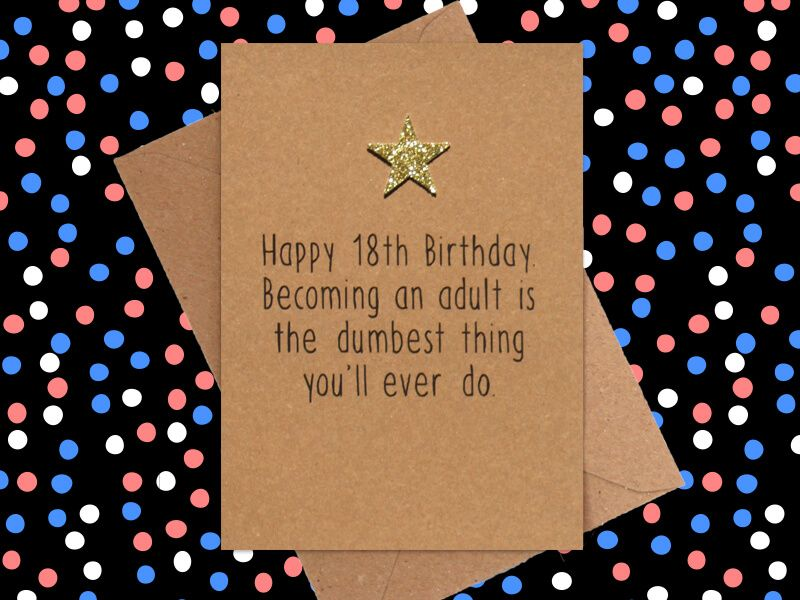 Funny 18th Birthday Card An Adult Is The