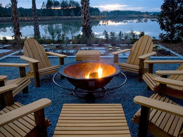 Außenarchitektur Moderne Gartengestaltung Feuerstelle Holz Sessel