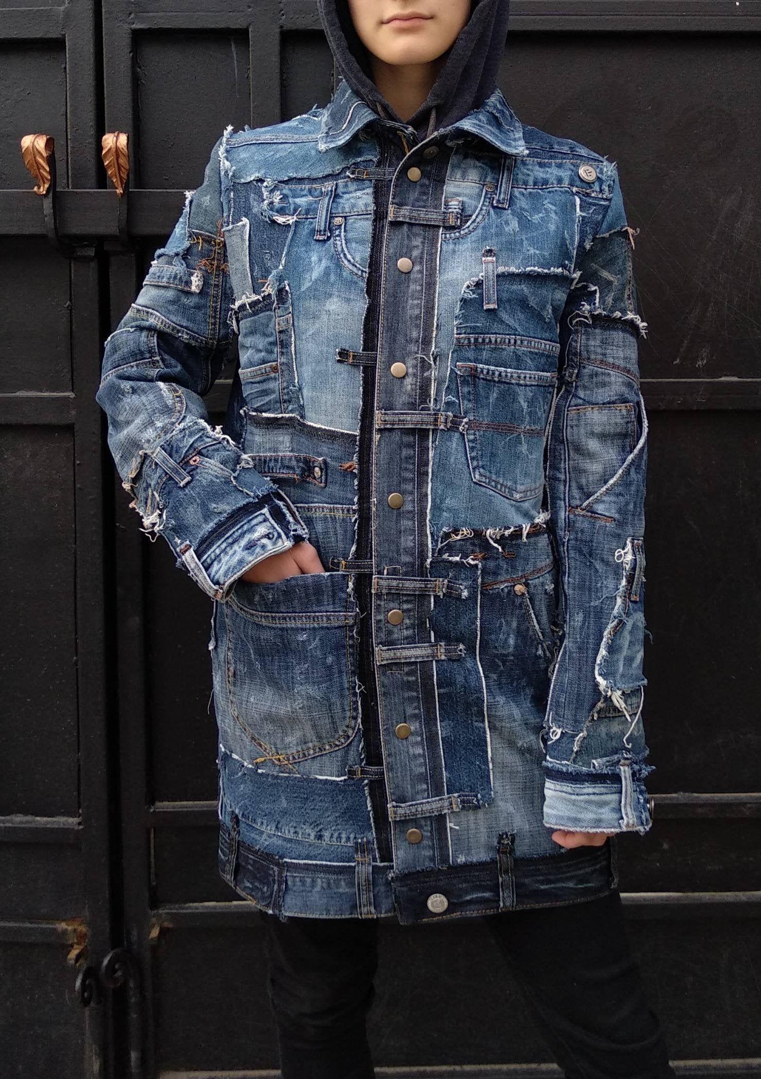Steampunk Jeans Jacket From Recycled Denim With Pockets For Etsy Odezhda Moda Dzhinsy [ 2097 x 1479 Pixel ]