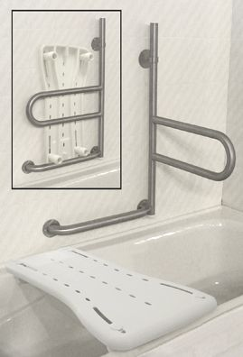 Fold Away grab bar and bath seat that stores in the grab bar