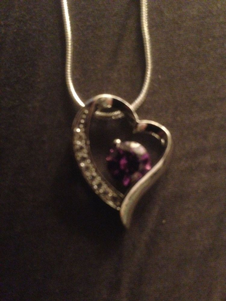 Sterling silver heart pendant purple clear gems 22 snake necklace sterling silver heart pendant purple clear gems 22 snake necklace valentines aloadofball Images