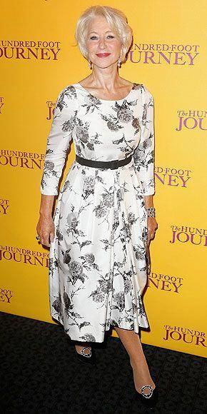 Last Night's Look: Love It or Leave It? | HELEN MIRREN | Stepping out in London for a screening of her new film, The Hundred Foot Journey, the actress is the epitome of glam in a Suzannah pleated floral-print silk midi, accessorized with a black belt and some seriously well-coordinated accessories (her jewels, pumps and clutch all have onyx accents). #womensfashionover40nightout