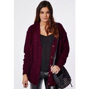 Plus Size Longline Chunky Knit Cardigan Oxblood - Plus Size Knitwear- Women's plus size - Missguided +