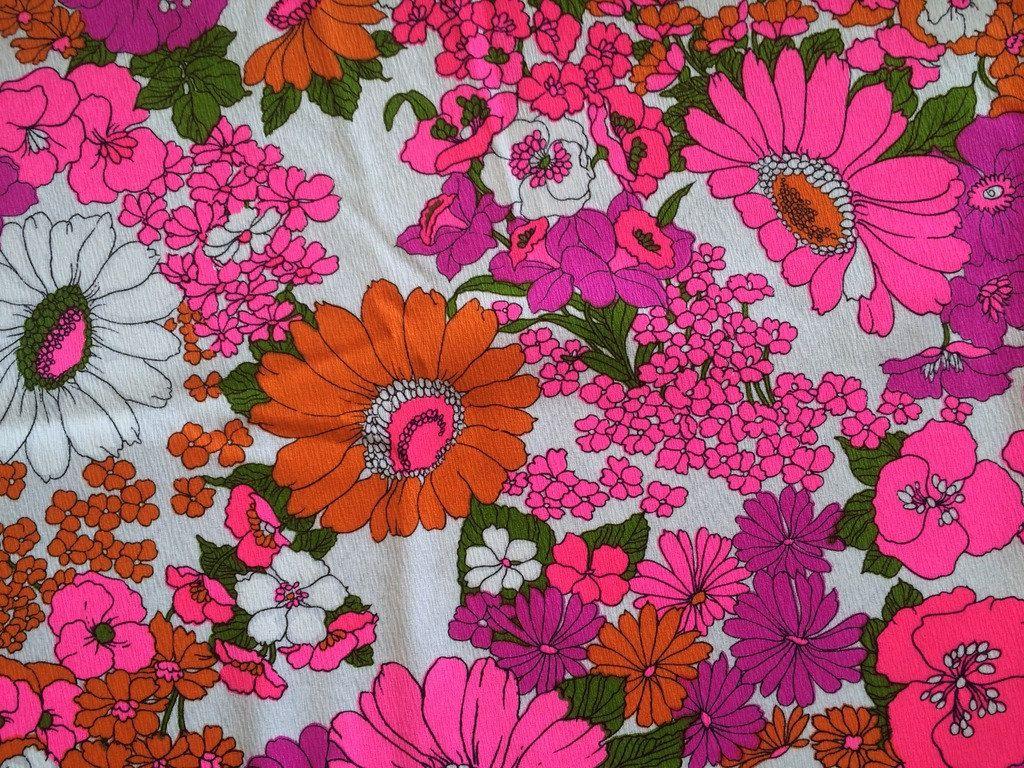 60s Hot Pink Daisy Vintage Fabric Neon Fluorescent Mid