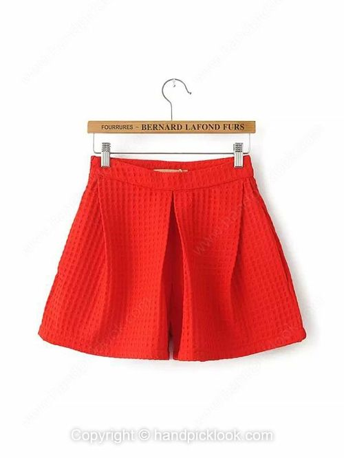 Red Fashion Mid Waist Loose Shorts -$23.89