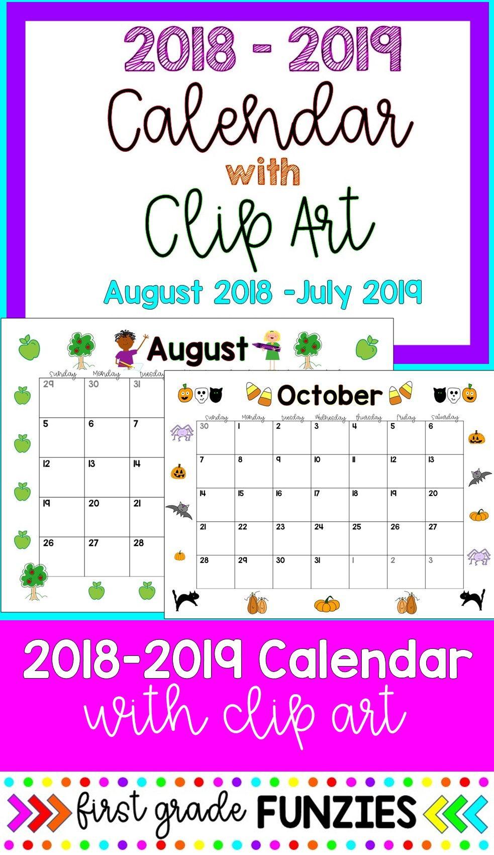 This Adorable Calendar Has The Cutest Clip Art To Coordinate With Each Month Plus Free Updates Ea Teacher Calendar Lesson Planner Template Art Classroom Decor