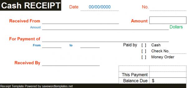 cash receipt template free